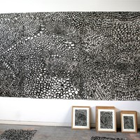 Pastel noir sur papier canson 14 panneaux, 525cm x 330cm. 2007