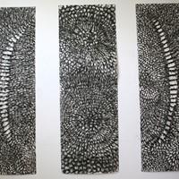 Triptyque n°1 Pastel noir sur papier canson, 3 panneaux de 220cm x 75cm 2008