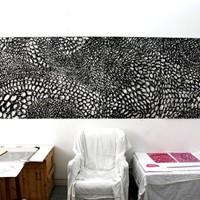 6 panneaux de pastel noirs, 6x75cm_1m10. collection particulière Athènes 2007