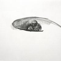 petite bonne femme au gouffre, n°2, crayon sur papier, 21 x 29,7cm, 1988.