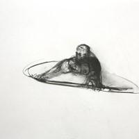 petite bonne femme au gouffre, n°3,crayon sur paoier, 21 x 29,7cm, 1988.