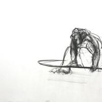 petite bonne femme au gouffre, n°4, crayon sur papier, 21 x 29,7cm, 1988.