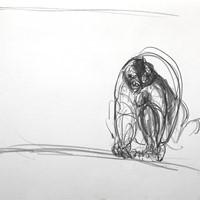 petite bonne femme au gouffre, n°5, crayon sur papier, 21 x 29,7cm, 1988