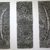 Pastel noir sur papier canson, 3 panneaux de 220cm x 75cm 2008
