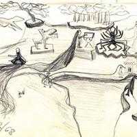 La petite fille et l'araignée crayon sur papier, détail, 1968